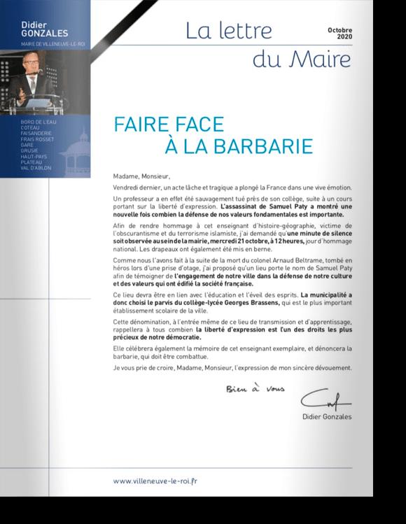 Lettre du Maire<br>Samuel Paty