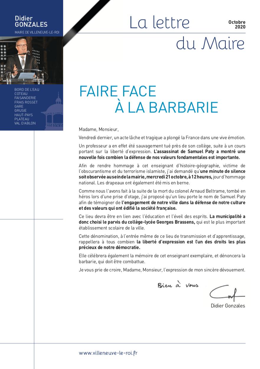 Lettre du Maire : Samuel Paty
