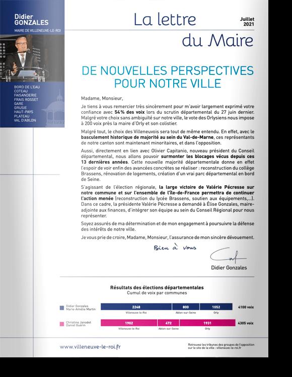 Lettre du Maire<br>Élections 2021